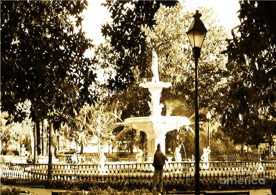 Public Spaces Photograph - Sepia Afternoon Forsyth Park Fountain in Savannah Georgia USA  by Aberjhani
