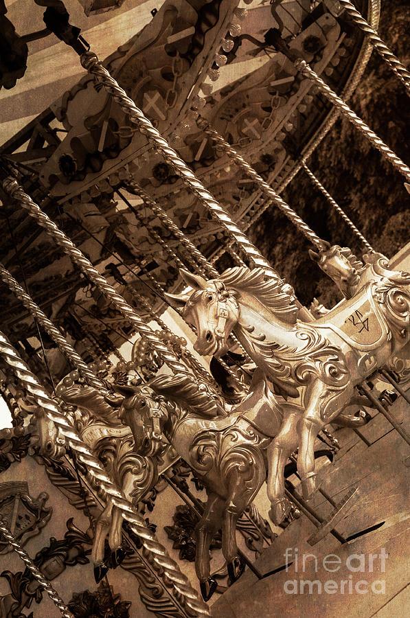 Sepia Carousel Horse by Paul Warburton