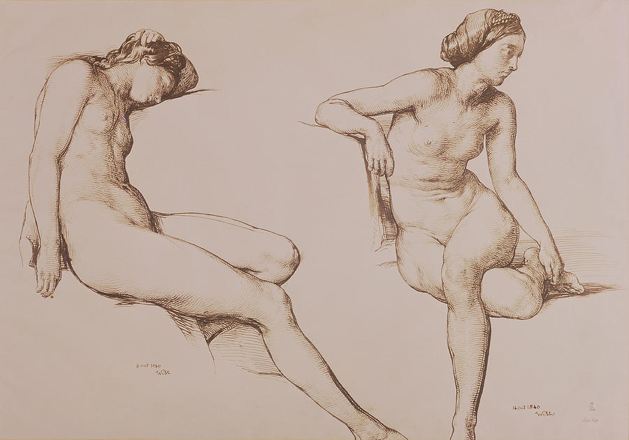 Sepia Drawing - Sepia Drawing Of Nude Woman by William Mulready
