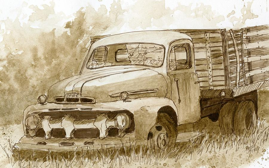 Sepia Ford Truck Sketch Drawing by David King