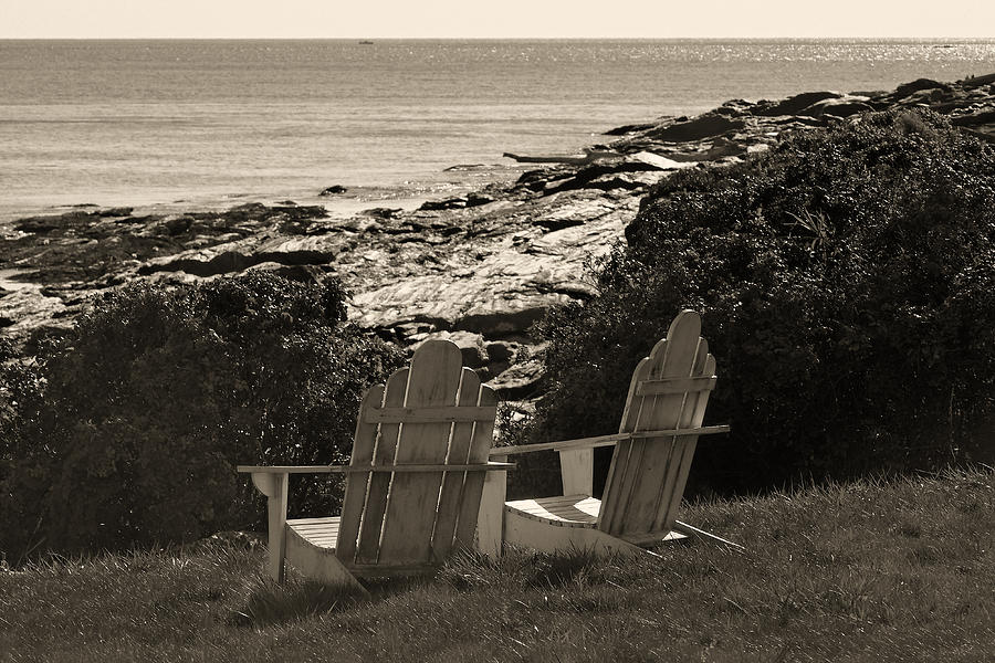 Chairs Photograph - Sepia Seaside Retreat by Lone Dakota Photography