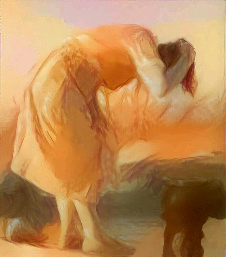 Cleaning Painting - Sepia Sketch Life Drawing Woman Cleaning Hair Bent Over Washing Lake Old by MendyZ
