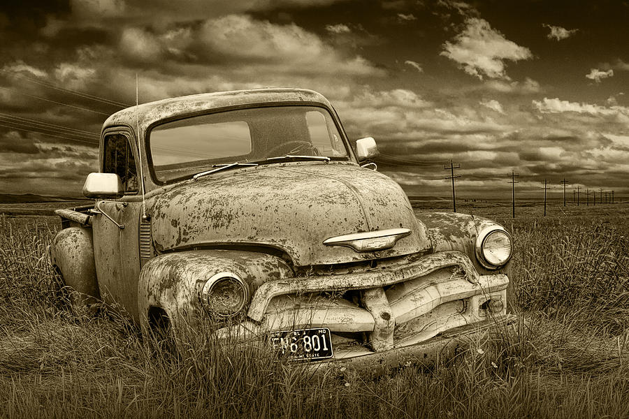 Sepia Tone Abandoned Chevy Pickup Truck Photograph by ...