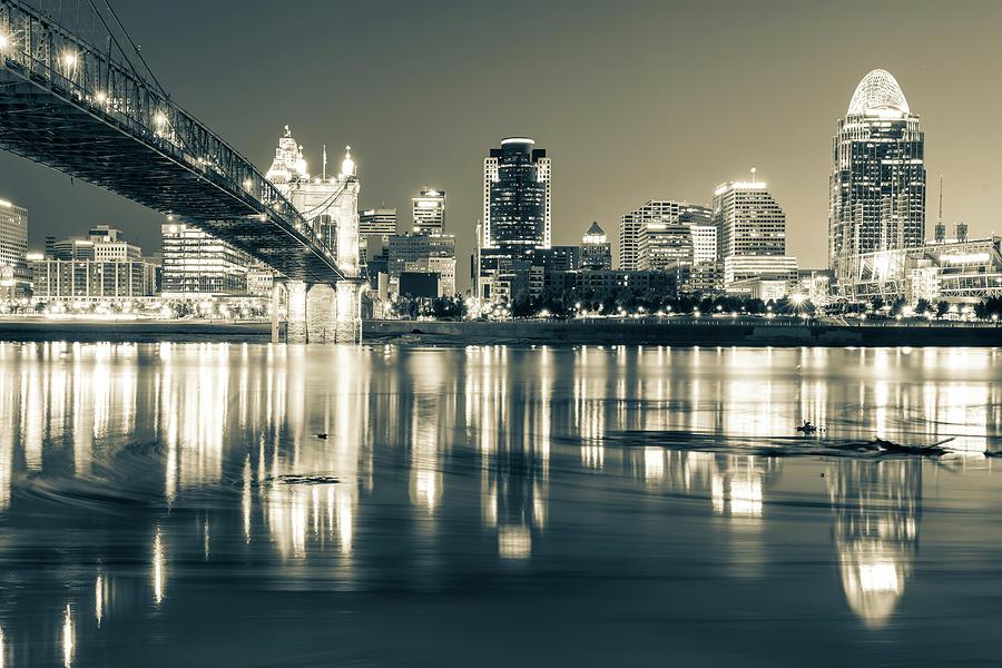 Black And White Photograph - Sepia Toned Cincinnati Ohio River Skyline by Gregory Ballos