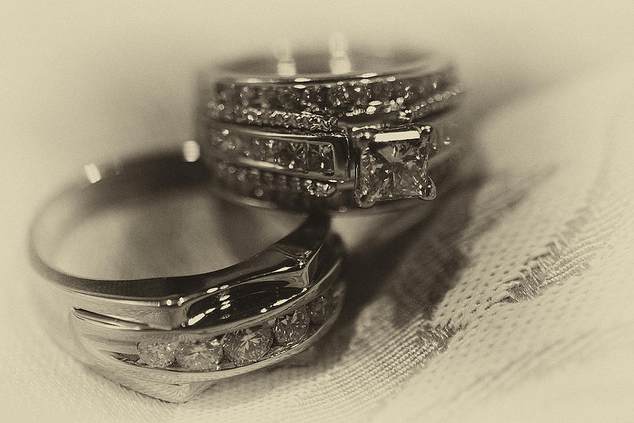 Vintage Photograph - Sepia Wedding Ring Example by David Patterson