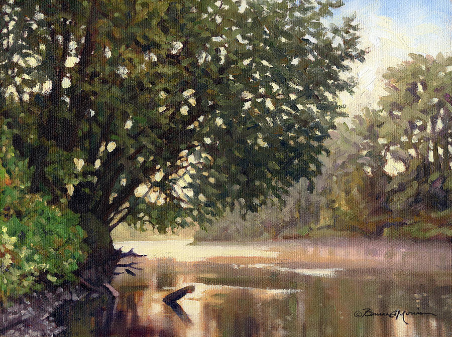 River Landscape Painting - September Dawn Little Sioux River - Plein Air by Bruce Morrison