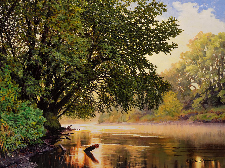 September Dawn, Little Sioux River - studio painting by Bruce Morrison