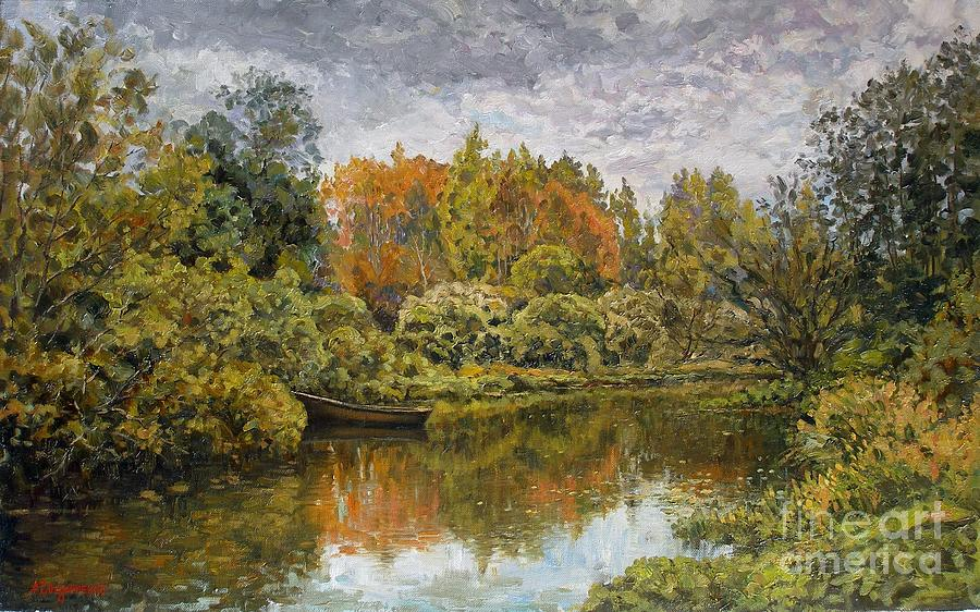 Landscape Painting - September. On The River by Andrey Soldatenko