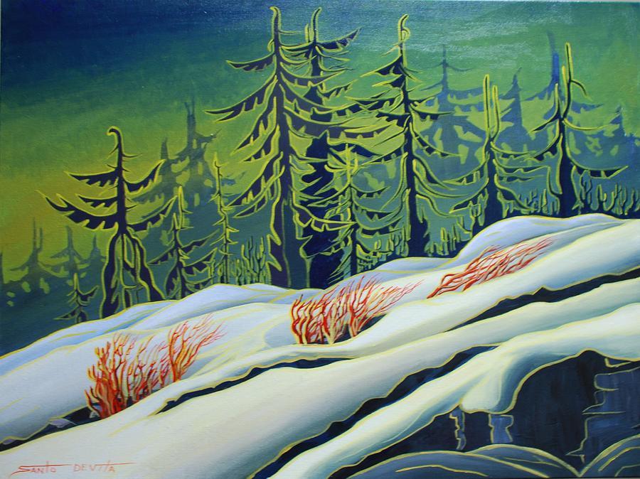 Trees Painting - September Snow by Santo De Vita