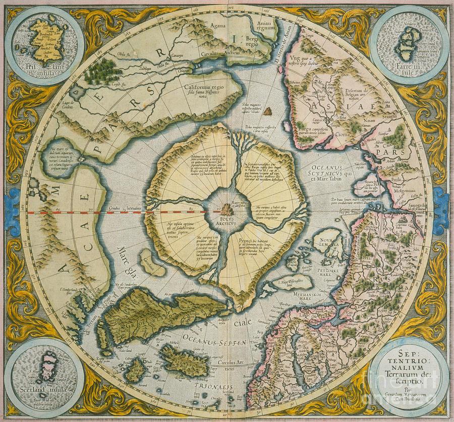 Pole Drawing - Septentrionalium Terrarum Descriptio by Gerardus Mercator