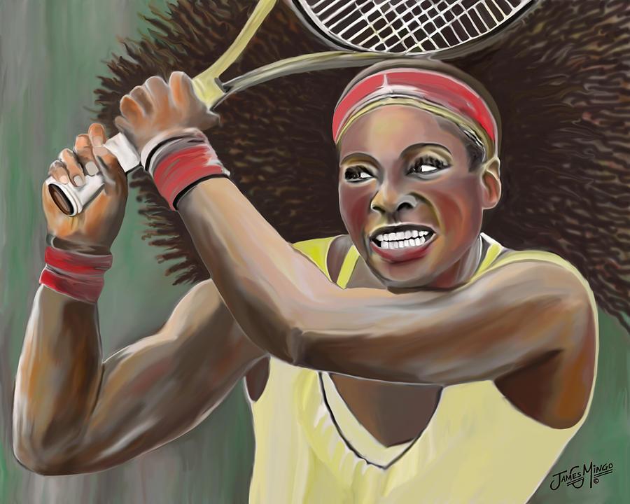 Tennis Digital Art - Serena by James  Mingo