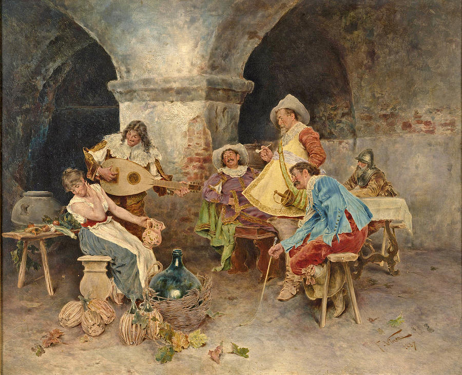 Famous Artists Painting - Serenade in the Tavern by Francesco Vinea