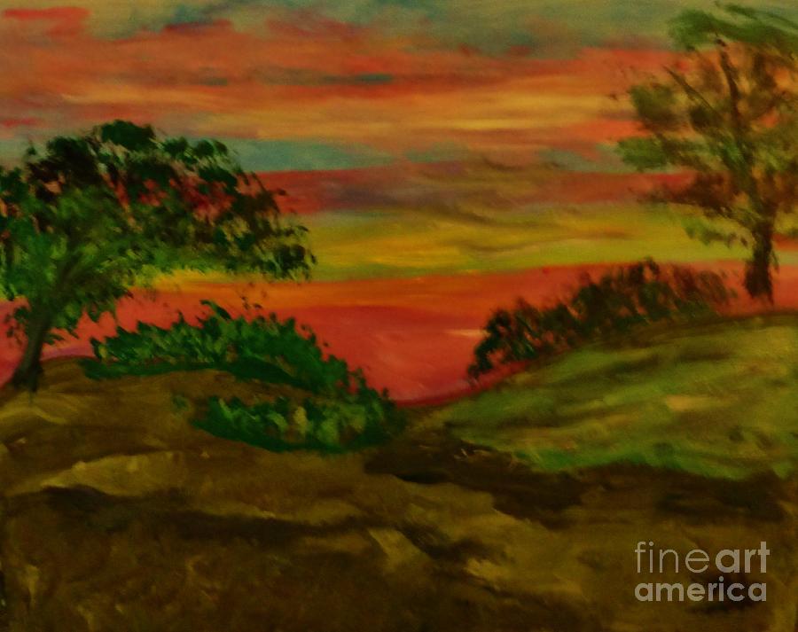 Serene Hillside II Painting by Marie Bulger