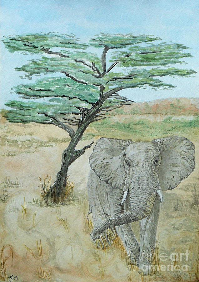 Elephant Painting - Serengeti Elephant by Yvonne Johnstone