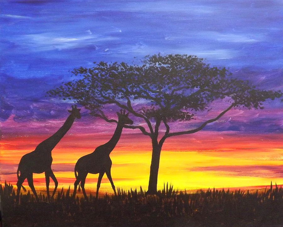 Serengeti Sunset Painting by Darren Robinson