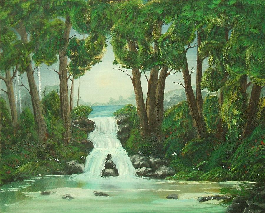 Waterfall Painting - Serenity by Brandy House
