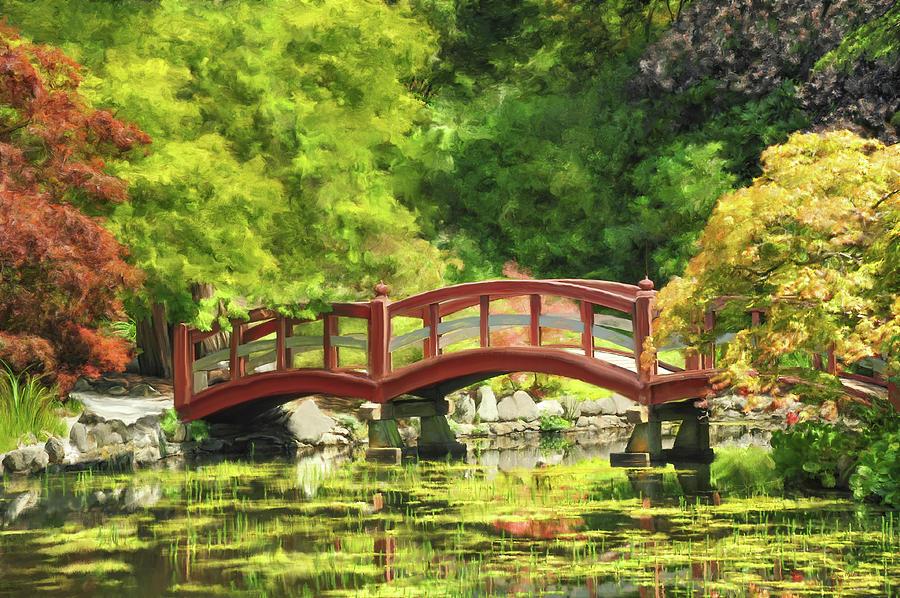 Landscape Digital Art - Serenity Bridge II by Ramona Murdock