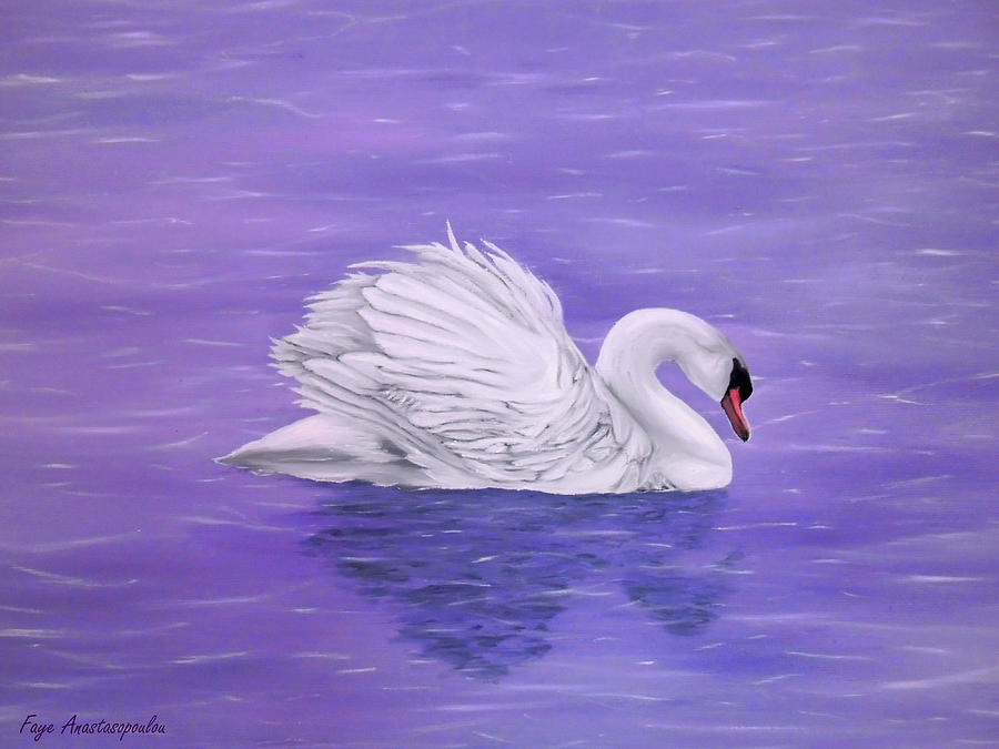 Swan Painting - Serenity by Faye Anastasopoulou
