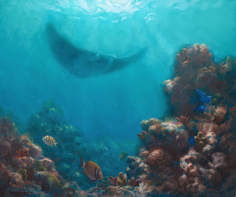 Serenity - Hawaiian Underwater Reef and Manta Ray Painting ...