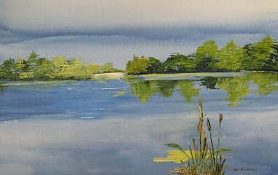 Painting Painting - Serenity Lake by Stan  Sternbach