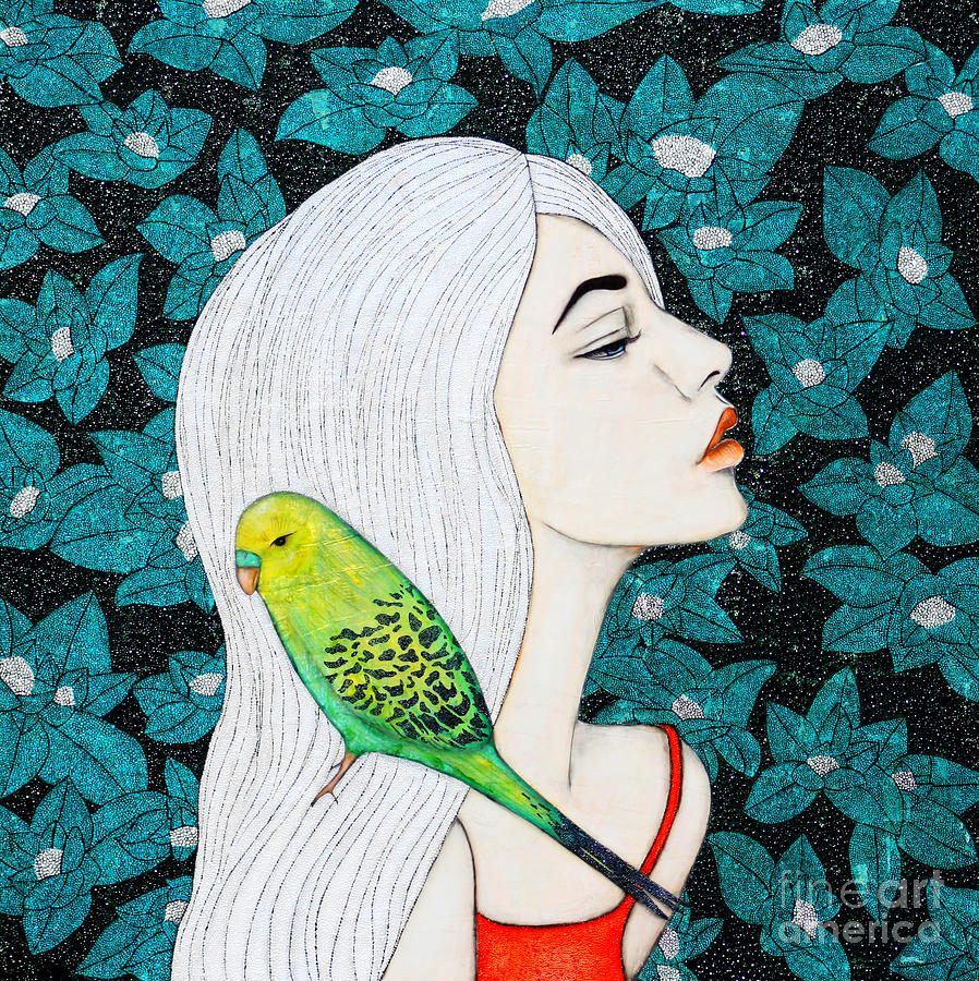 Budgie Painting - Serenity by Natalie Briney
