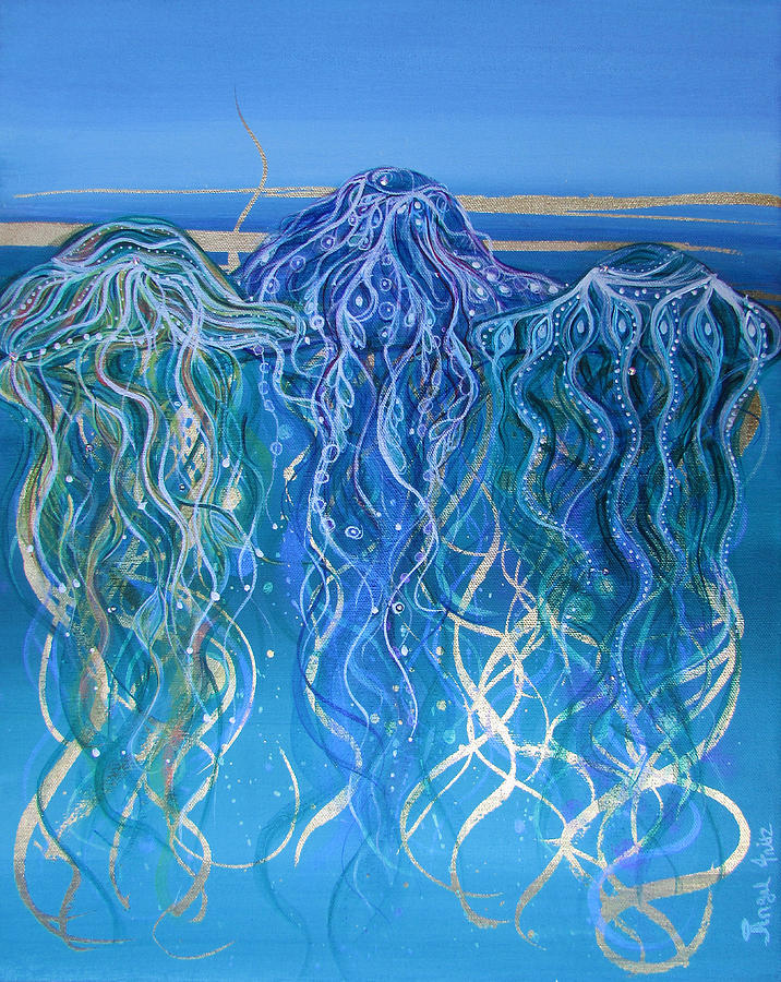 Jelly Fish Painting - Serenity Now by Angel Fritz
