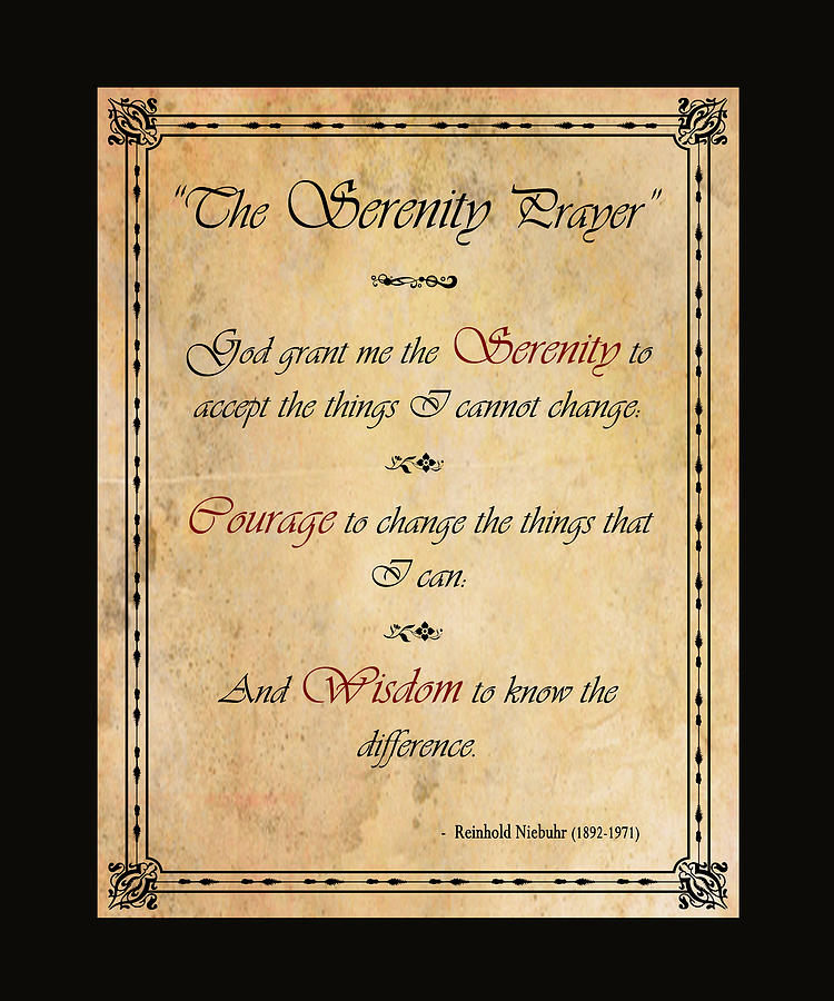 Serenity Prayer Sable Border Photograph by David Ross