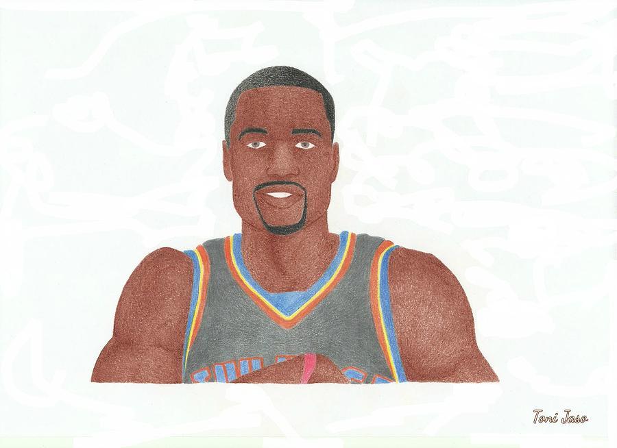 Basketball Drawing - Serge Ibaka by Toni Jaso