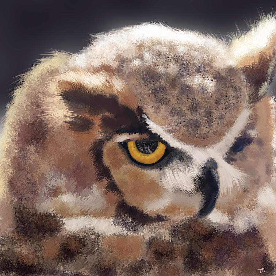 Owl Painting - Serious Horned Owl by Tara Appling