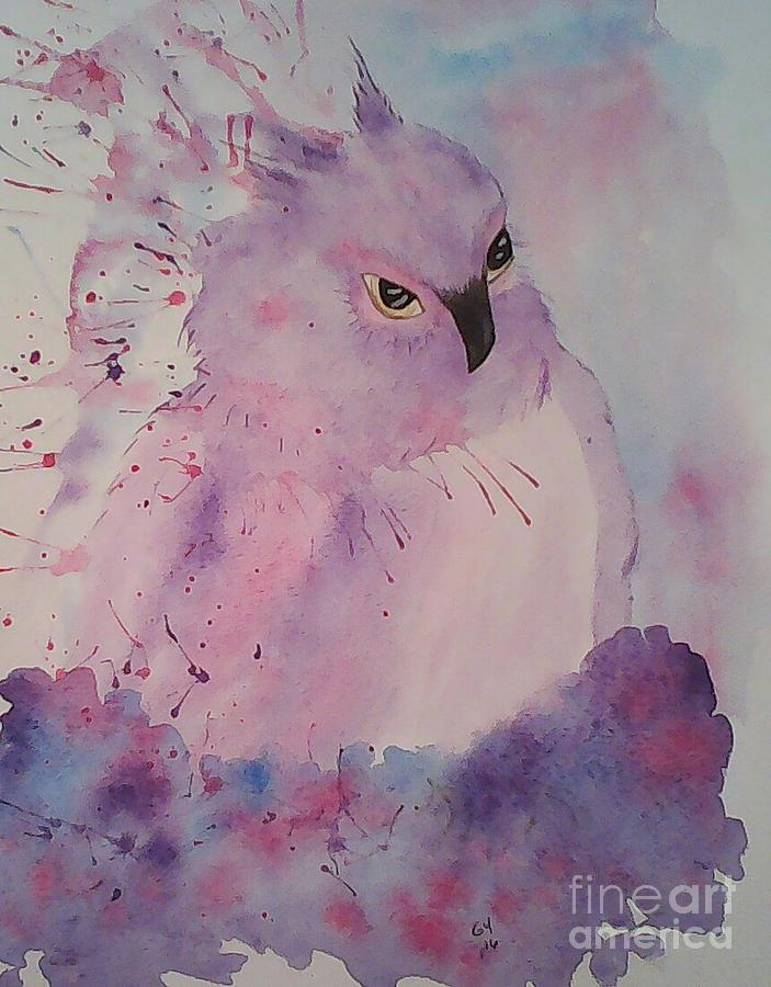Owl Painting - Seriously by Ginny Youngblood