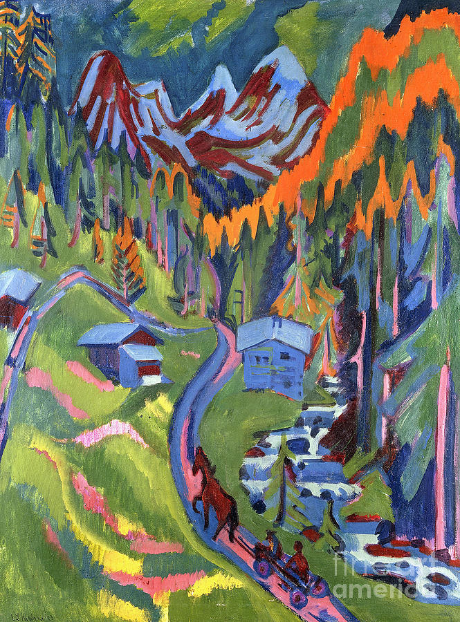 sertig path in summer painting by ernst ludwig kirchner