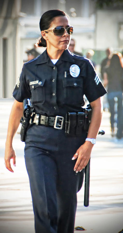 Lapd Law Enfrocement Women Female Officer Protect Serve  Photograph - Serve And Protect by Chris Yarzab