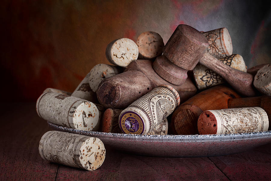 Aged Photograph - Served - Wine Taps and Corks by Tom Mc Nemar