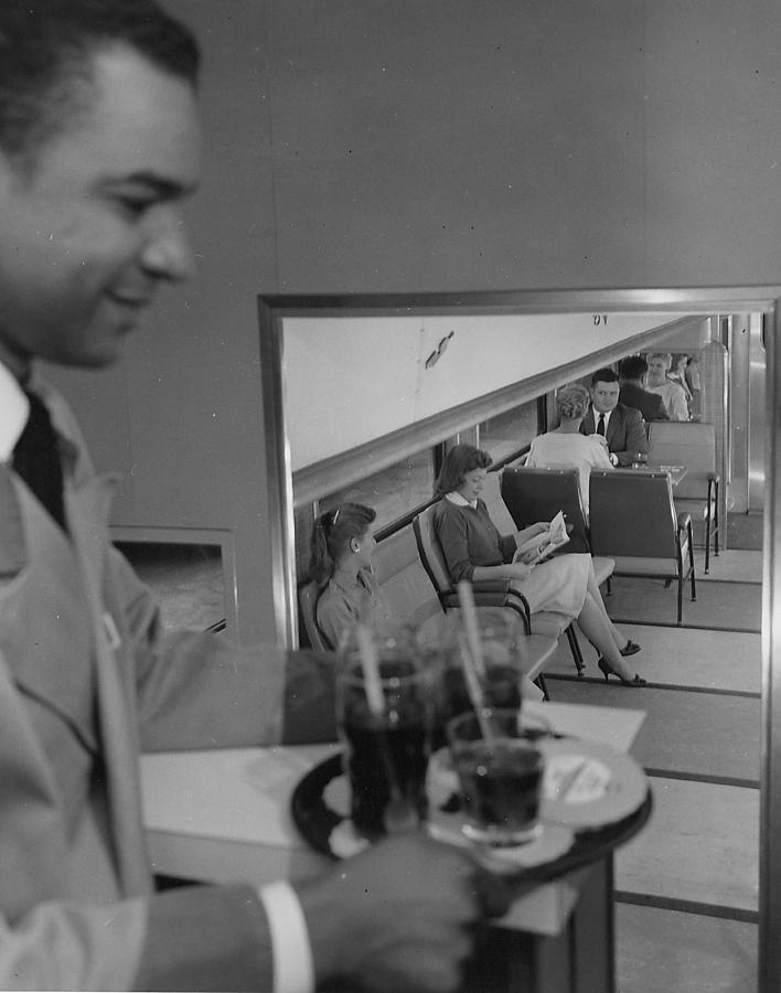 Passenger Trains Photograph - Server in Bilevel Lounge of 400 by Chicago and North Western Historical Society