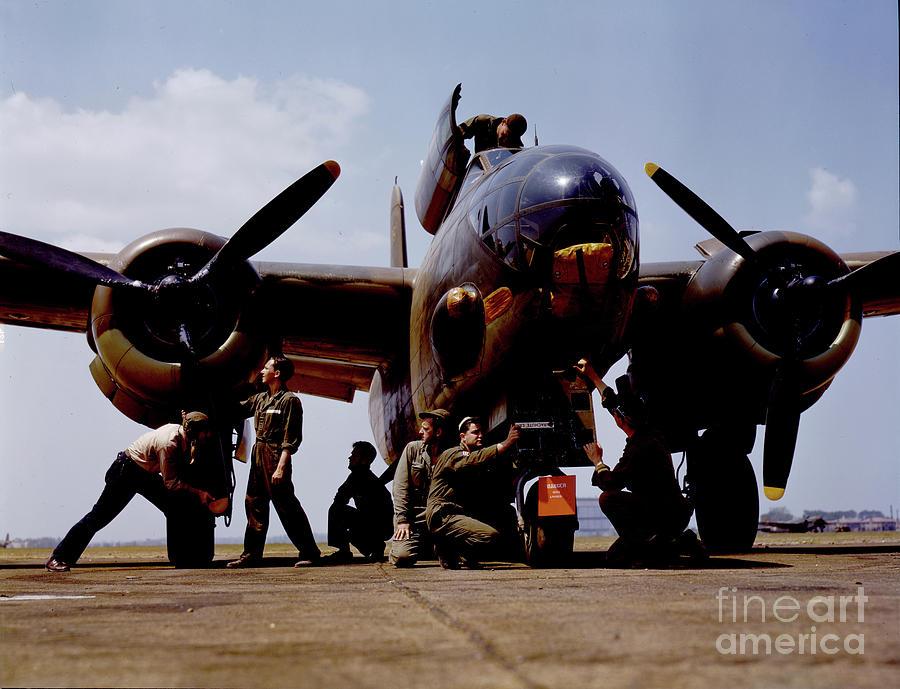 Servicing an A-20 bomber Langley Field Va Mixed Media by Heinz G Mielke