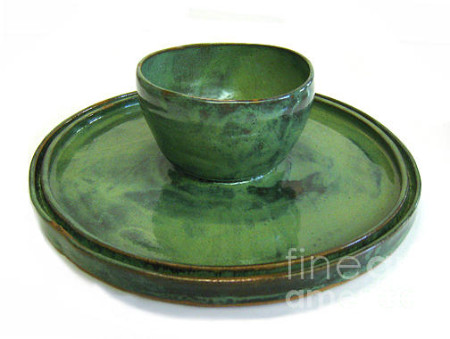 Pottery Ceramic Art - Serving Dish Or Chip And Dip Server by Vernon Nix
