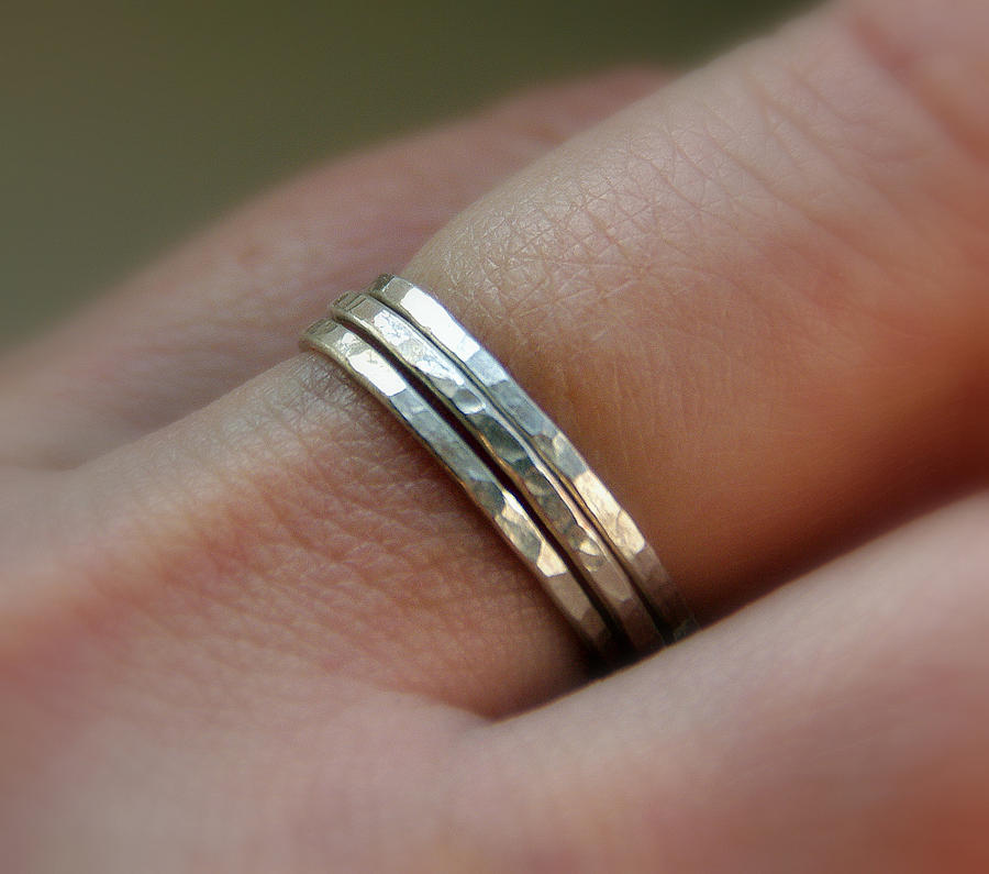 Jewelry Mixed Media - Set Of 3 Handmade Sterling Silver Stacking  Band Rings by Nadina Giurgiu