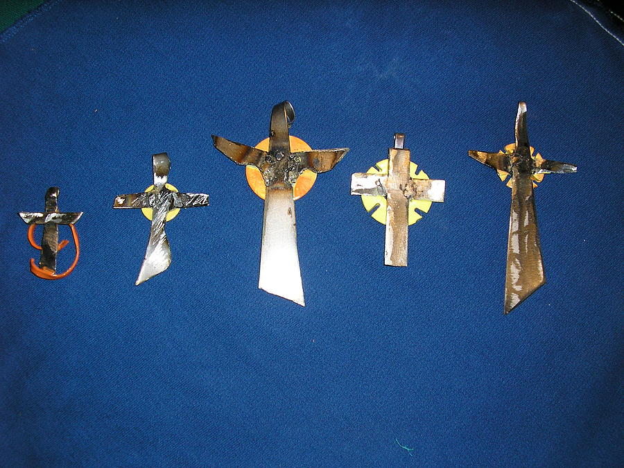 Cross Sculpture - Set Of 5 Hand Made Steel Crosses by Todd Timler