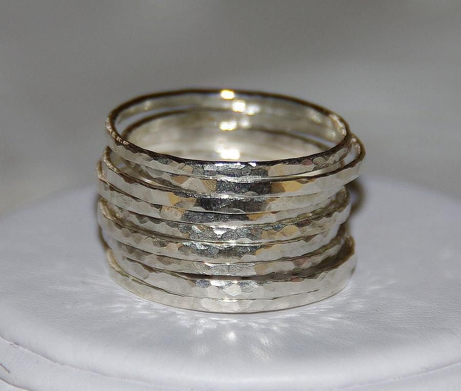 Set Of 9 Handmade Hammered Sterling Silver Stackable Rings Jewelry ...