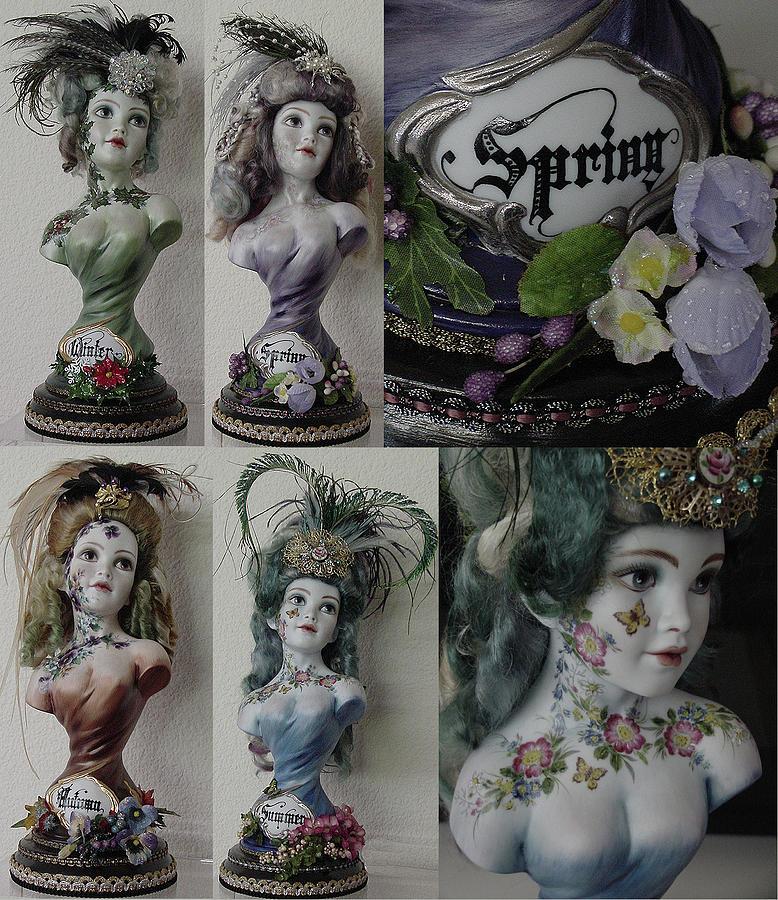 Set Ceramic Art - Set Of Busts - 4 Seasons by Shirley Heyn