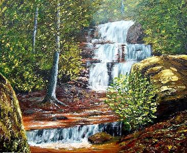 Landscape Painting - Set Rock Creek Falls by Tami Booher