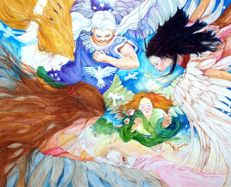 Angels Drawing - Set Your Mind On Things Above by Jill Iversen