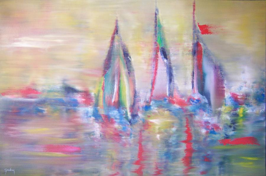 Boats Painting - Setting Sail by Scott Spencer