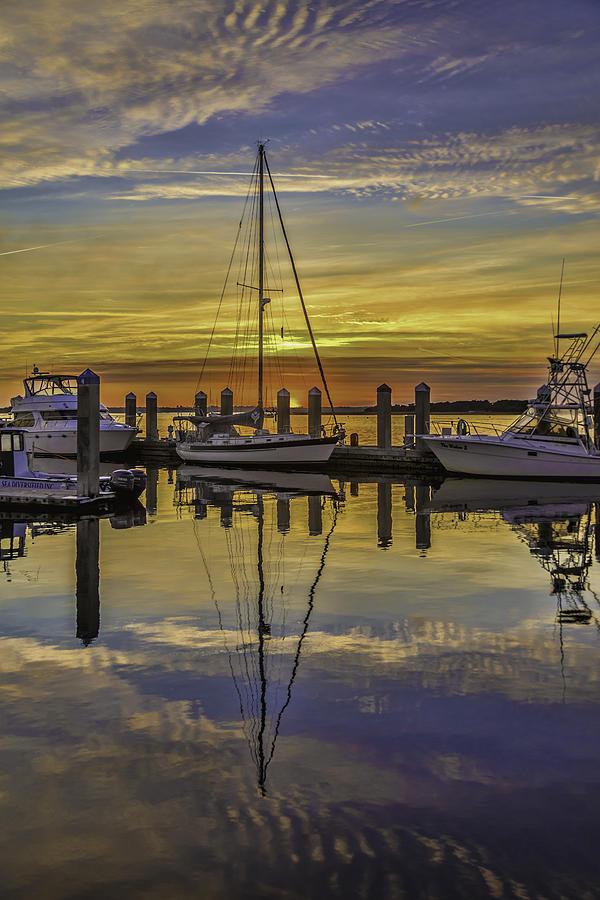 Sunset Photograph - Setting Sun Reflections by Paula Porterfield-Izzo