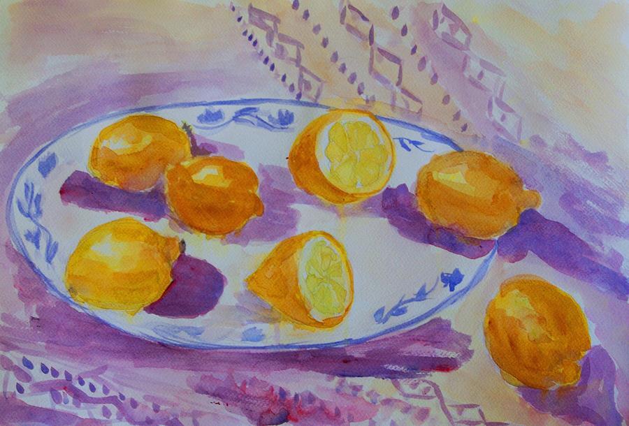 Lemons Painting - Setting With Lemons by Liliana Andrei