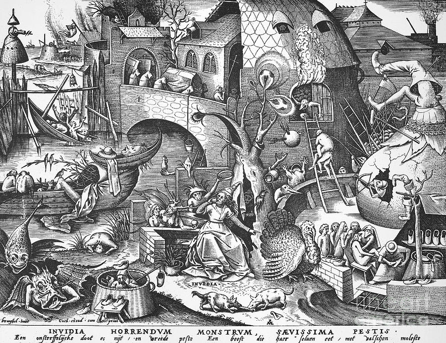 Allegory Photograph - Seven Deadly Sins, 1558 by Granger