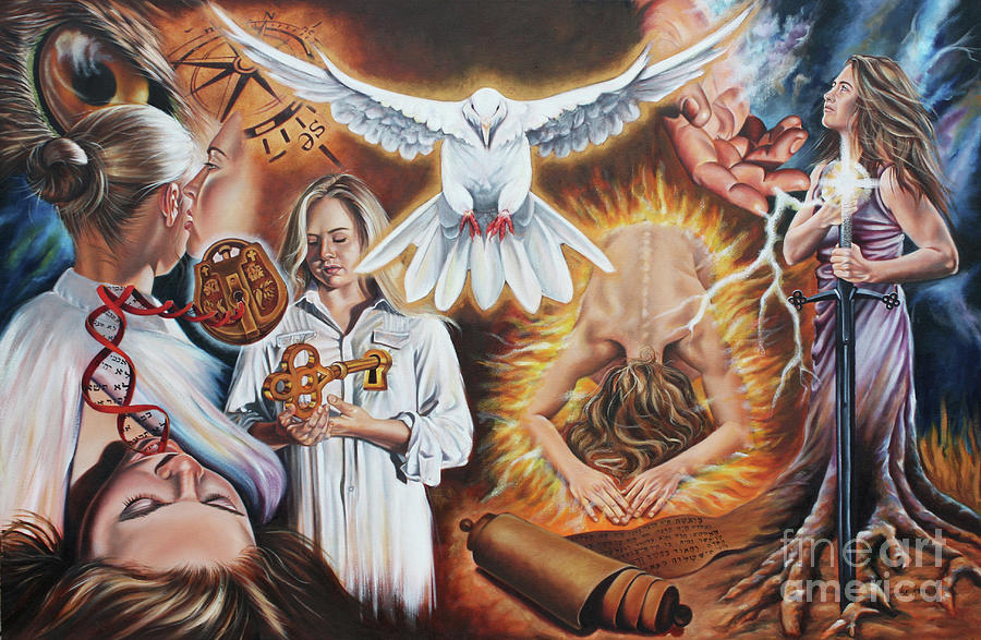 Dove Painting - Seven-fold Spirit Of The Lord by Ilse Kleyn