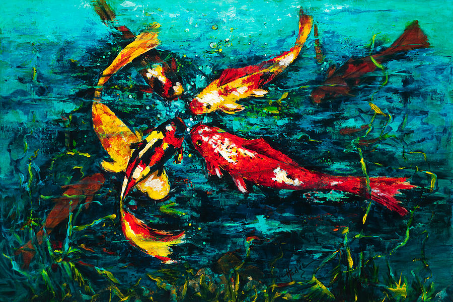 Koy Painting - Seven Koi by Mary DuCharme