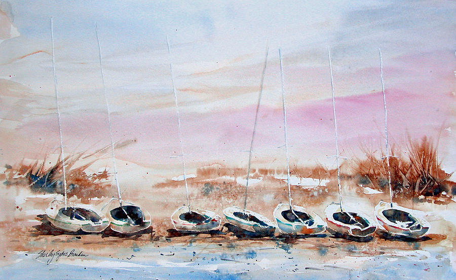 Seven Little Boats Painting
