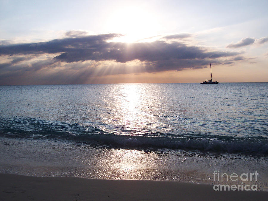 Seven Mile Beach Photograph - Seven Mile Beach Catamaran Sunset Grand Cayman Island Caribbean by Shawn OBrien